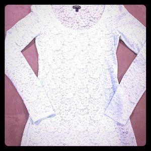 Express lace-like knit mint green long sleeve